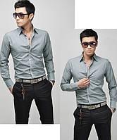 Мужская однотонная рубашка, фото 1
