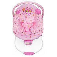 Музыкальный детский шезлонг-качалка с подвесными игрушками для девочки 6358-1, фото 2