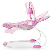 Музыкальный детский шезлонг-качалка с подвесными игрушками для девочки 6358-1, фото 3