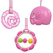 Музыкальный детский шезлонг-качалка с подвесными игрушками для девочки 6358-1, фото 4