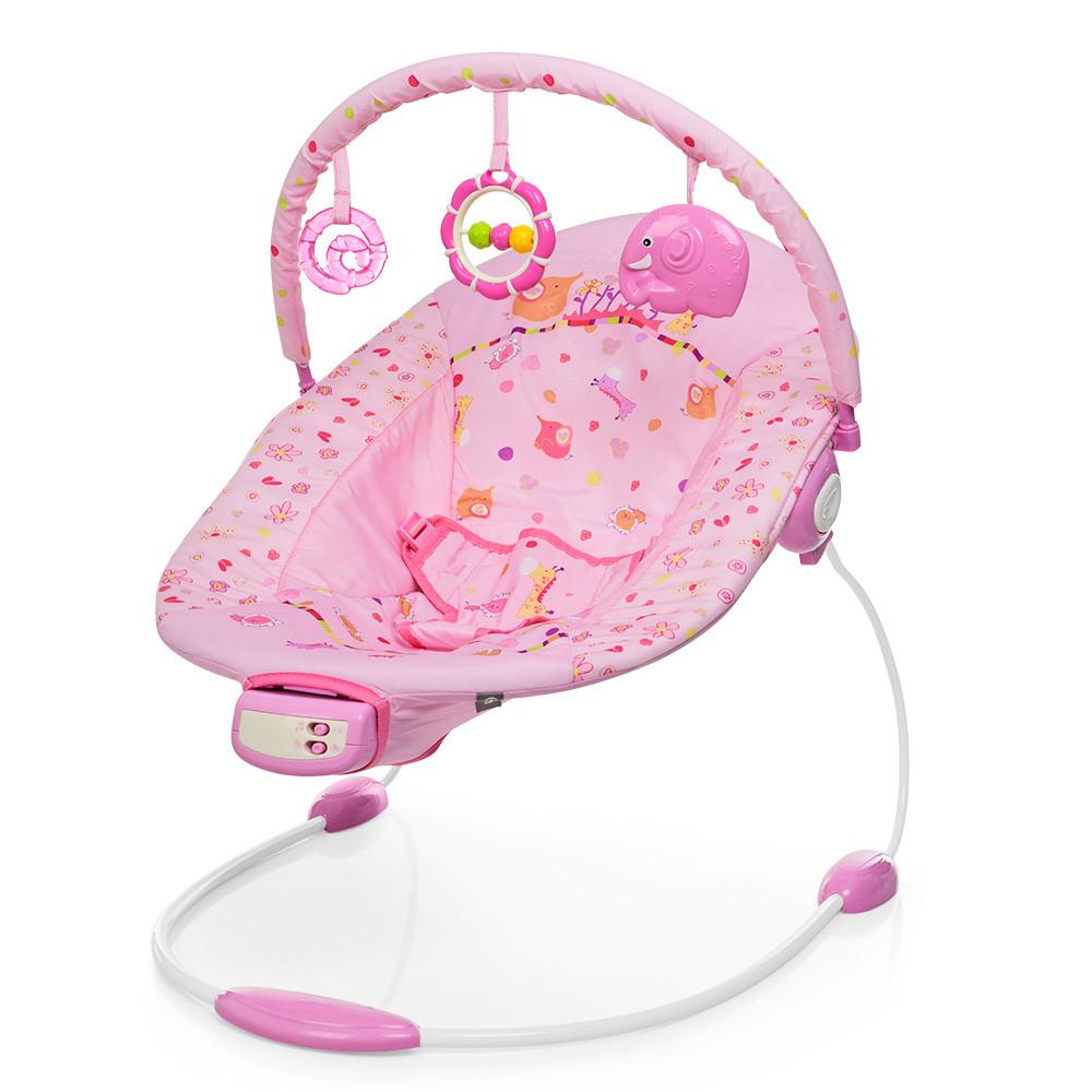Музыкальный детский шезлонг-качалка с подвесными игрушками для девочки 6358-1