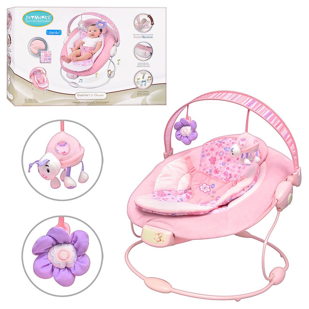 Музыкальный детский шезлонг-качалка с подвесными игрушками для девочки 60681-1