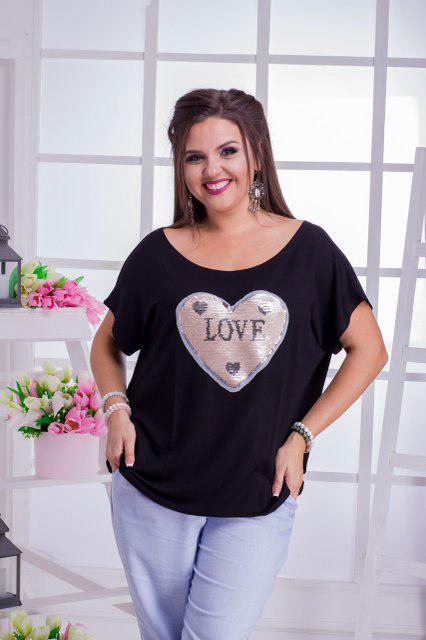 Женская футболка в больших размерах с сердцем из пайеток 53ba634