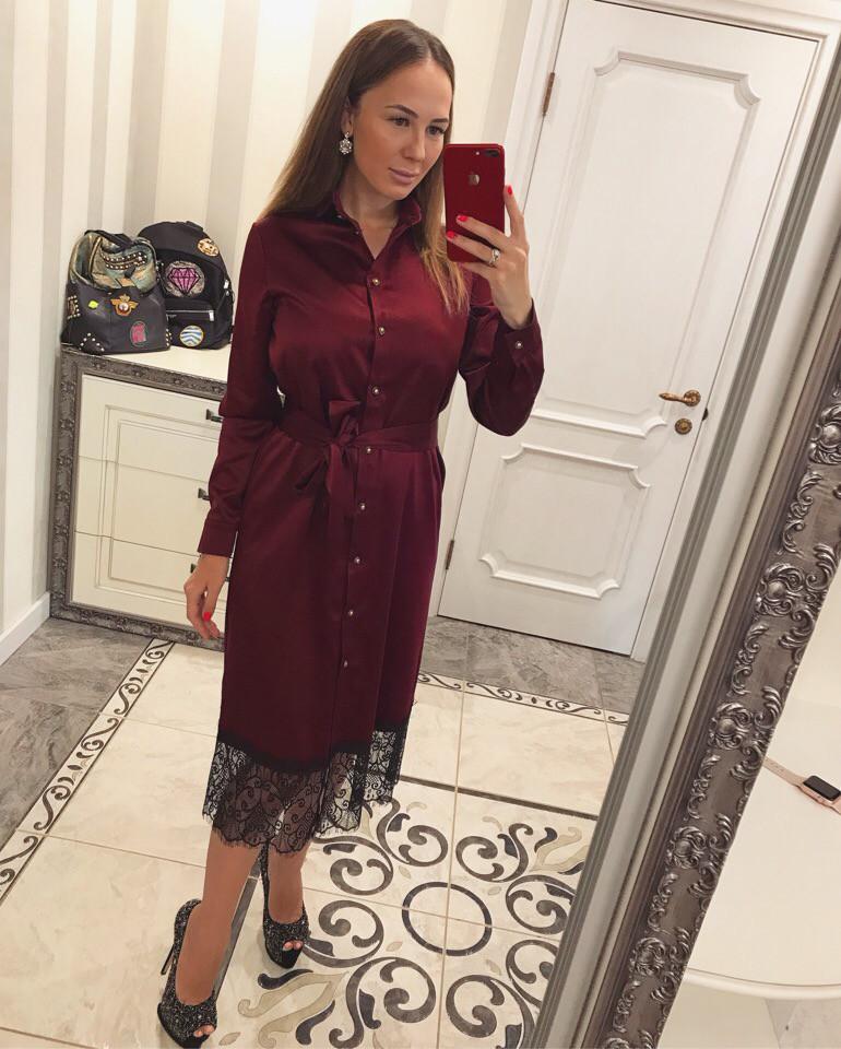 64758fcb789 Женское атласное платье с кружевом  продажа