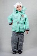 Детский зимний комбинезон для девочки мятного цвета