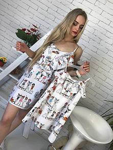Одежда мама и дочка принтованное летнее платье 51md03