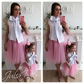 Одежда мама и дочка с фатиновой юбкой и белым верхом 28md05