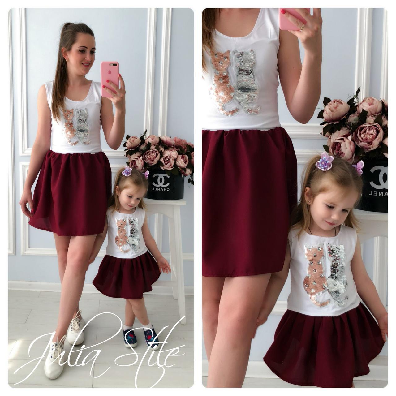 Набор для мамы и ребенка платье летнее с рисунком 28md10