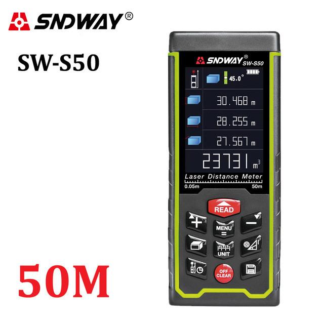 Sndway SW-S50 лазерная рулетка, дальномер от 0,05 до 50 м
