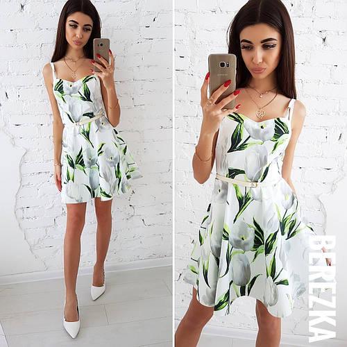 6ff3d62b6d3 Летнее платье с юбкой-солнце на бретелях 66py1617 купить оптом и в розницу  в интернет-магазине Tailor