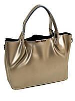 Женская сумка кожаная классическая. Натуральная кожа. 36*25*14 см. Цвет стальной