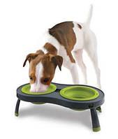 Dexas Миска двойная на складной подставке для собак и кошек (240мл)