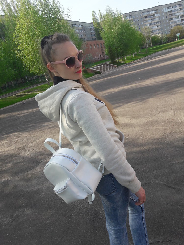 Женский рюкзак маленький белый скидка