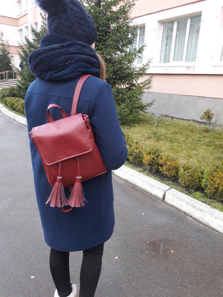 Маленький женский рюкзак с косточками бордо скидка