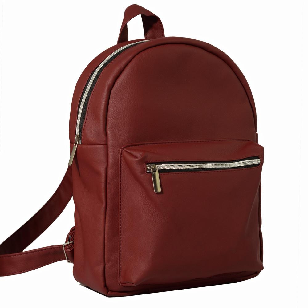 Большой женский рюкзак бордовый кожзам скидка