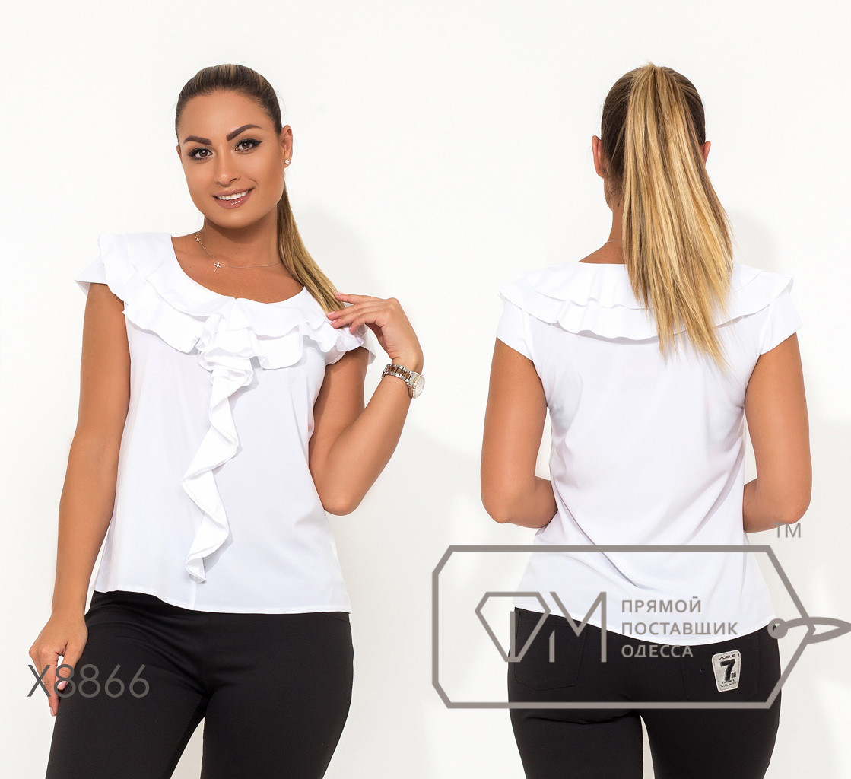 Женская офисная легкая блуза батал с воланами fmx8865