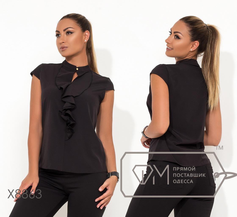 Женская черная и белая блуза в больших размера с воланом fmx8863