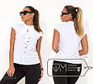 Женская черная и белая блуза в больших размера с воланом fmx8863, фото 2