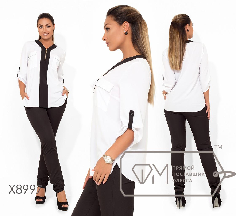 Женская двухцветная блуза в больших размерах свободного кроя fmx8997
