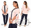 Женская двухцветная блуза в больших размерах свободного кроя fmx8997, фото 3