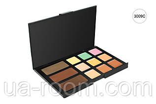 Палитра пудровые тени для глаз и бровей (3 цв.) + консилер для лица (9 шт.) MAC 3009 C