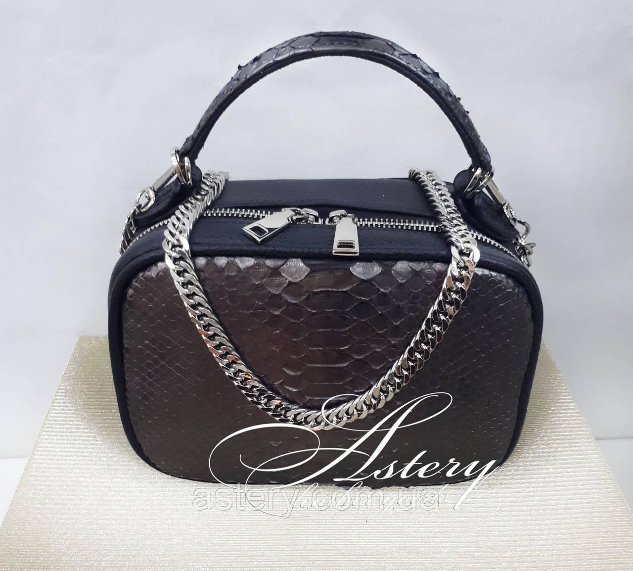 Женская графитовая сумочка STELLINA из питона на цепочке