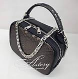 Женская графитовая сумочка STELLINA из питона на цепочке, фото 2