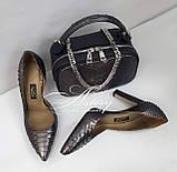 Женская графитовая сумочка STELLINA из питона на цепочке, фото 5