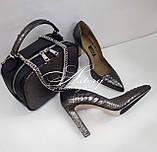 Женская графитовая сумочка STELLINA из питона на цепочке, фото 6