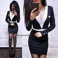 Трикотажное платье с вырезом и длинным рукавом 9031836, фото 1