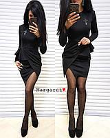 Асимметричное платье из плотного трикотажа с баской 9031841, фото 1