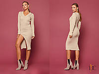 Вязаное платье миди с разрезом и длинным рукавом 31031842, фото 1