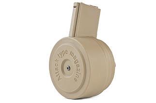 Magazynek bębnowy Attack Type 1500 kulek для реплик M4/M16 - Tan [G&P] (для страйкбола), фото 2