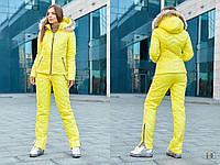 Горнолыжный женский теплый костюм на высокой посадке 310823