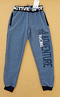 Спортивные штаны для мальчика на 9-12 лет серого цвета с надписью оптом