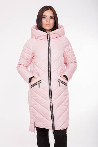 Женская демисезонная куртка-пальто Kattaleya KTL-202 розовая (#594) 42 размер, фото 2