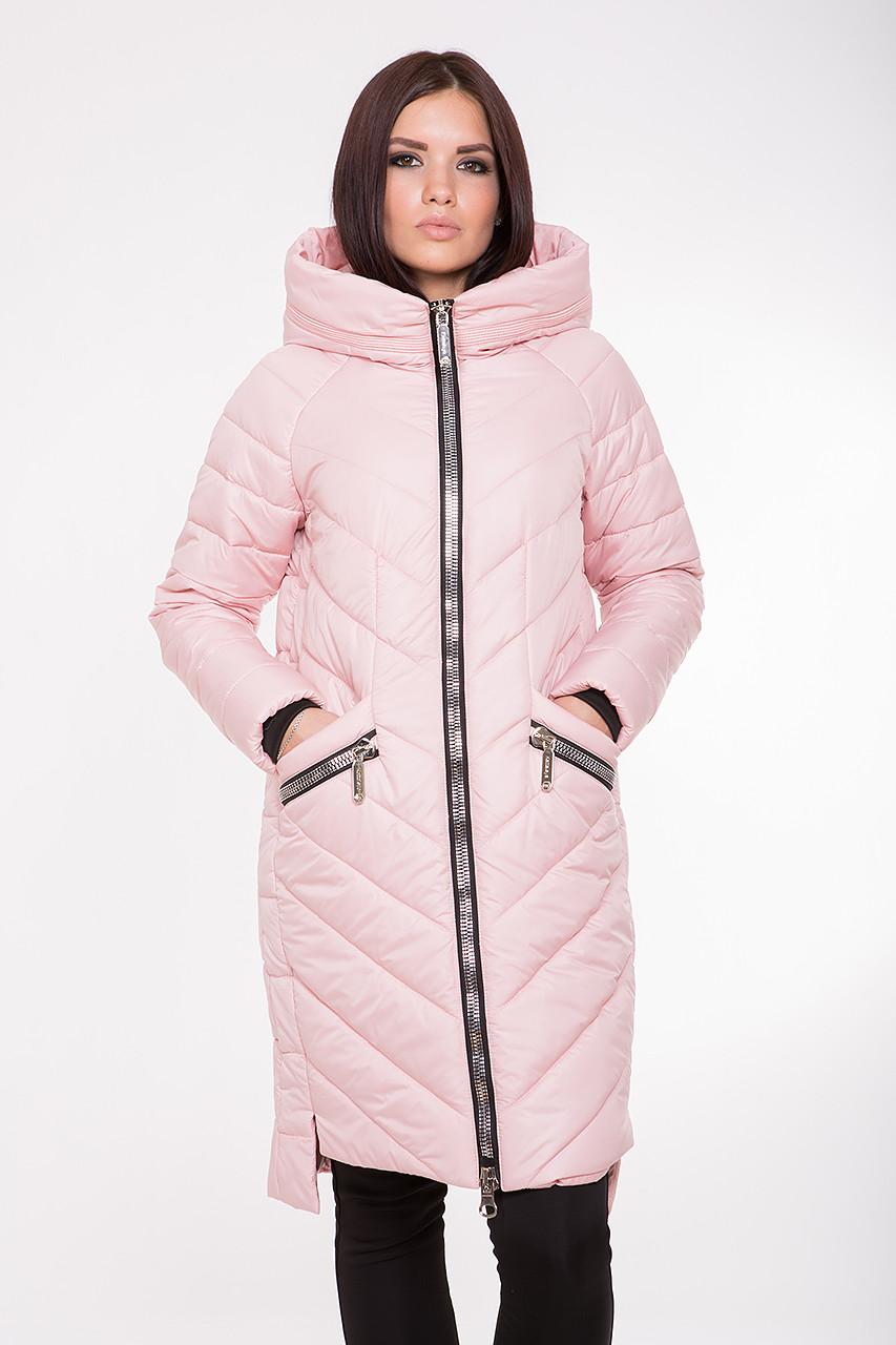 Женская демисезонная куртка-пальто Kattaleya KTL-202 розовая (#594) 42 размер