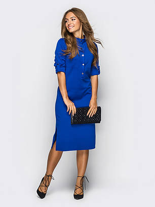 (S, M, L, XL, XXL) Класичне синє плаття Fridia
