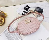 Модная сумка на пояс в стиле Gucci пудрового розового цвета