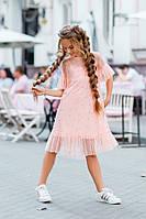 Нарядное платье для девочки евросетка с жемчугом низ-кристалл размер: 134, 140, 146, 152см