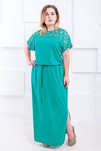 Платье макси большого размера с поясом Judit Версаль 50-64 р
