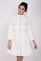 Демисезонный женский плащ CLASNA CW17C016 - пепельно-белый (#921)