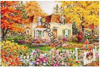 """Схема для вышивки нитками """"Домик в саду"""""""