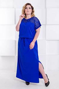 Синее платье макси большого размера с поясом Judit Версаль 50-64 р