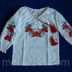 """Вышиванка для девочки. Вышитая блузка """"Багряний мак"""""""