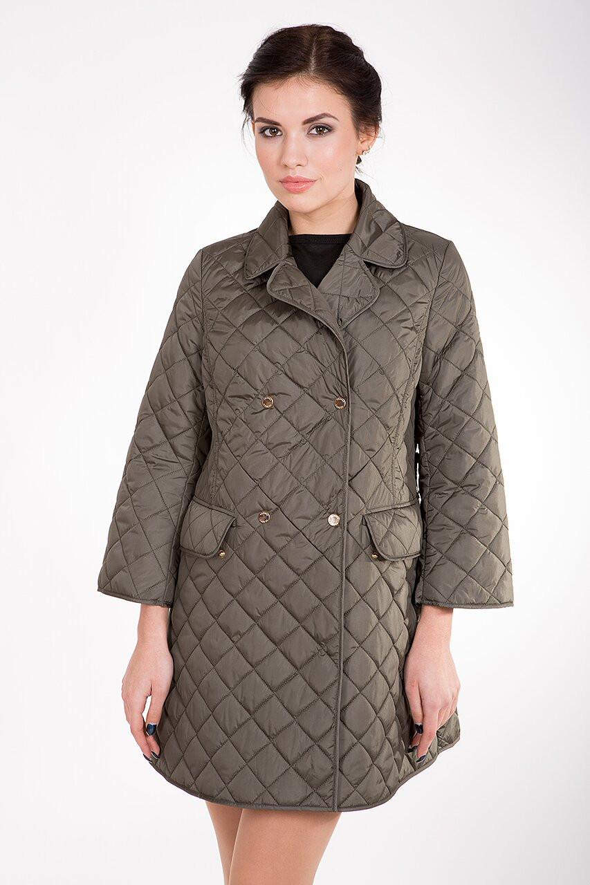 Стеганная демисезонная женская куртка-плащ средней длины CW17C089 горчица (#467)