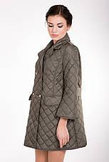 Стеганная демисезонная женская куртка-плащ средней длины CW17C089 горчица (#467), фото 2