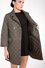 Стеганная демисезонная женская куртка-плащ средней длины CW17C089 горчица (#467), фото 3