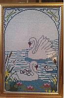 """Картина """"Лебеди"""" (вышивка бисером), 60х40см, 800"""
