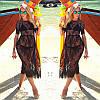 Женская легкая платье, пляжная туника, черный цвет, фото 3
